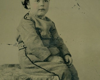 Antique Tintype Photo: Little Boy of the Civil War Era