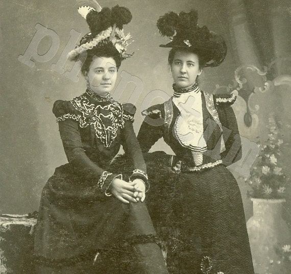 Antique Photo: Hatcher Sisters in Victorian Fashion