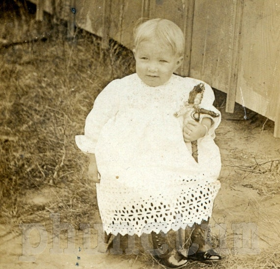 Antique Photo: Dolly, White Lace & High Button Boots - Beautiful Blonde Baby