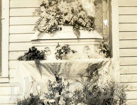 Antique Post Mortem Photo: Tiny Infant's Coffin, Funeral Flowers