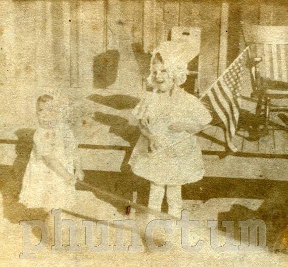 Antique Photo Flag Waving Baby Girls Rustic Cabin Americana