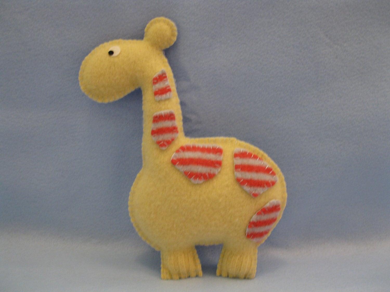 Felted Giraffe Animal Pillow by jyutan on Etsy