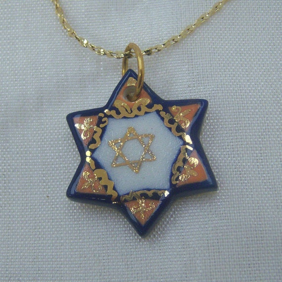 Ceramic and Gold Filled Star of David Pendant Necklace