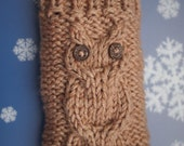 iPod Touch case, iPhone, HTC Droid Incredible, Smartphone cover, Mobile Android sleeve, Blackberry holder, Samsung bag beige hand knit owl