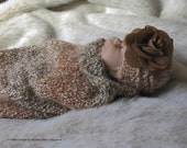 Baby Cocoon, Preemie / Newborn Swaddler, Photo Prop, Infant PeaPod, Reversible Cacoon Hand Knit in Earthy Shades
