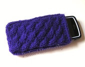 iPhone 5/ 4 case iPod Touch HTC Droid Incredible Samsung bag mobile Smartphone holder BlackBerry cover, hand knit in deep purple