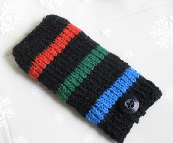 iPhone 5 case iPod Touch bag HTC Droid Incredible Samsung cover mobile Smartphone holder BlackBerry sleeve, knit in black orange green blue