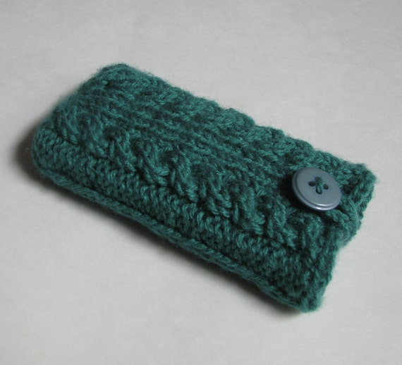 iPod case iPhone cover HTC Droid Smartphone bag Samsung Android Incredible iPod Touch sleeve mobile BlackBerry, knit cables in misty green