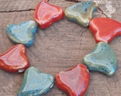 Large Ceramic Heart Beads - Turquoise and Maroon (4)
