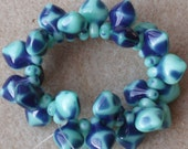 Turquoise and Navy Blue Spade Czech Pressed Glass Beads (12)
