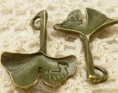 Antique Bronze Tone Ginkgo Ginko Leaf Charms (6) - A36