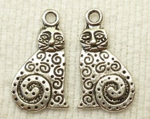 Fancy, Swirled Art Cat Charms Antique Silver Tone (6) - S6