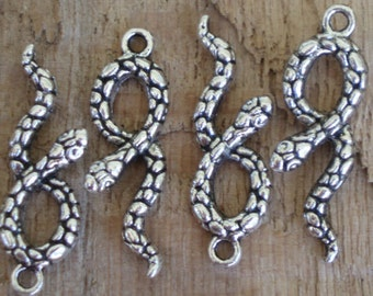 Intricately Detailed Antiqued Silver Snake Charms (6) - S59
