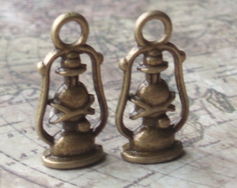 Antiqued Bronze Oil Lamp Charms (6) - A62