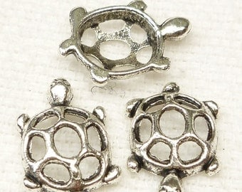 Antiqued Silver Turtle Multi Connector Charm (6) - S68