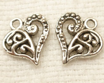 Intricate Detailed Silver Filigree Heart Charms (10)- S89