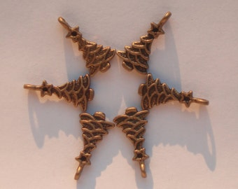 Antique Bronze Christmas Tree Charms (6)