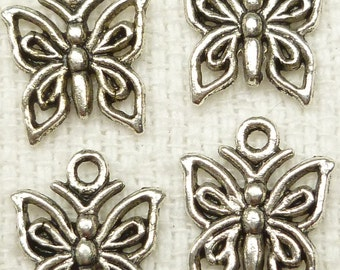 Delicate Butterfly Charms, Antique Silver Tone (10) - S77