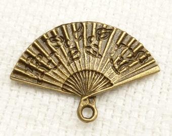 Hand Fan Pendant Charm Antique Bronze Tone (6) - A24