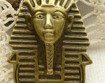 Antique Bronze Egyptian Mask Pharaoh Pendant