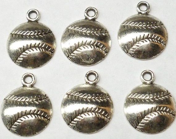 Antiqued Silver Tone Baseball Charms (8) - S80