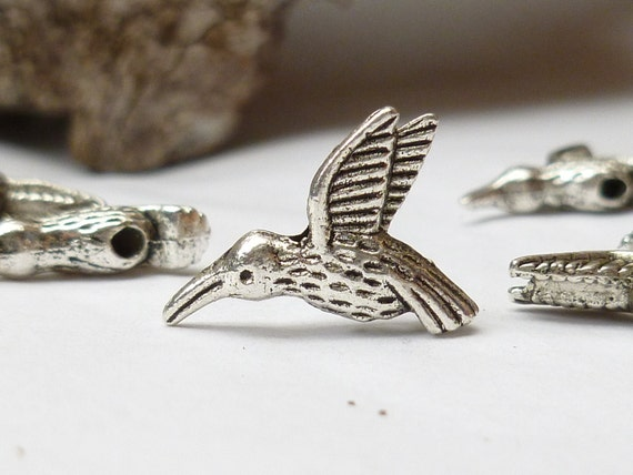 Antiqued Silver-tone Hummingbird Charm, Spacer Bead, Finding (6) - S30