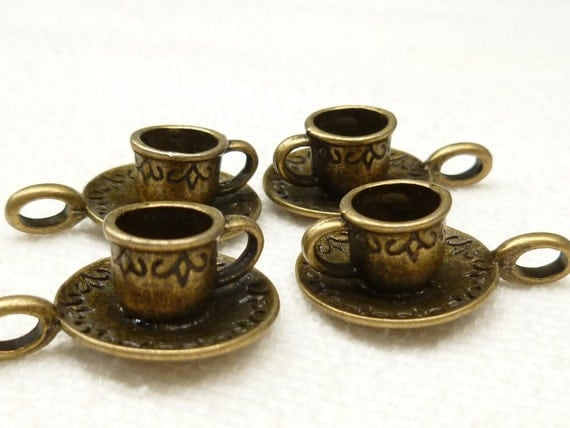Bronze Tone Vintage Style Tea Cup and Saucer Charms (4) - A9