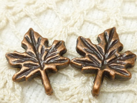 Copper Tone Maple Leaf Charms (7)