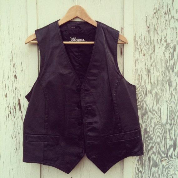 Vintage 1980s Wilsons Black Leather Vest