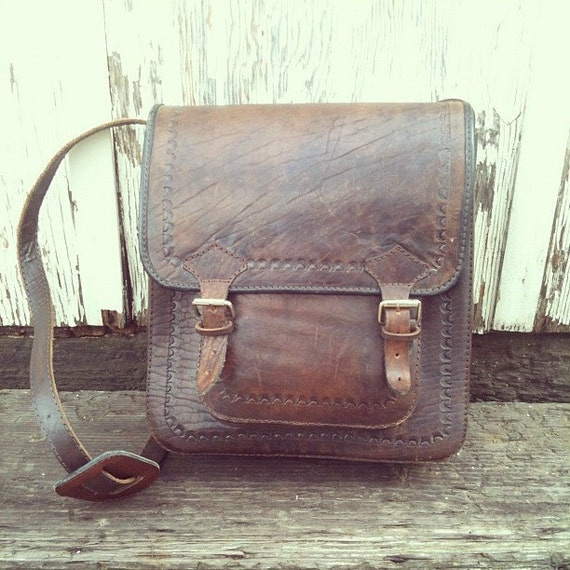 Vintage Tooled Leather Strap Cross Body or Shoulder Bag