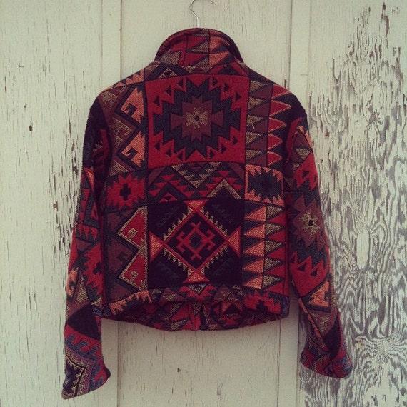Vintage 80s Cotton Navajo Southwest Cropped Jacket Blazer S/M