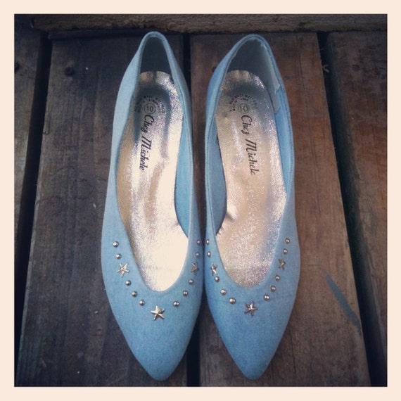 Vintage 90s Denim & Silver Star Studded Leather Kitten Heels Size 10