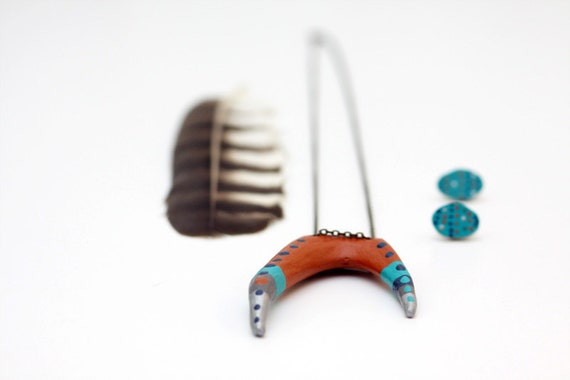 Hand Painted Antler  - Necklace Earrings Jewelry - Wearable Art - Deer Antler Fork - Southwestern Bohemian Tribal Folk - Orange Blue