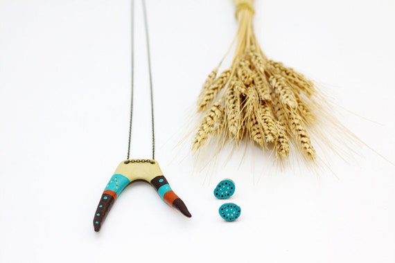 Hand Painted Antler Necklace Earrings Jewelry - Wearable Art  - Deer Antler - Bohemian Tribal Folk - Yellow Teal