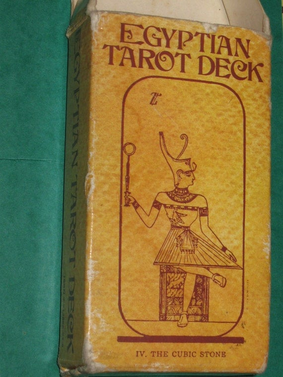 Vintage swiss made EGYPTIAN TAROT Cards by AG Mueller from 1970s with instruction booklet.