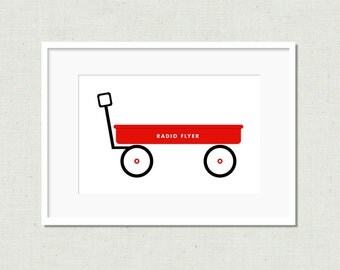 Red wagon print, red wagon, nursery art, nursery wall art, modern nursery, nursery decor, kids art, kids prints, colorful print, wagon print