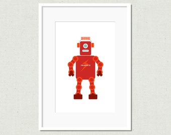 Modern robot art print, robot art, modern nursery art, toy robot,  children's art print, red robot, kid's room art, colorful nursery art