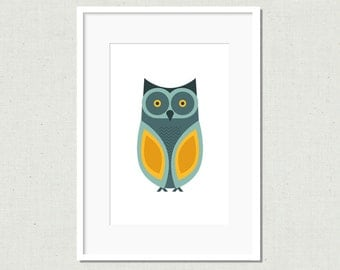 Modern owl print, owl illustration, modern nursery art, kids room decor, owl decor, kids room art, colorful nursery art, blue owl