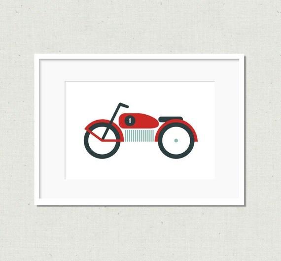 Fun and modern motorcycle art print, colourful nursery art, modern nursery art, kids room decor, nursery decor, colorful nursery art