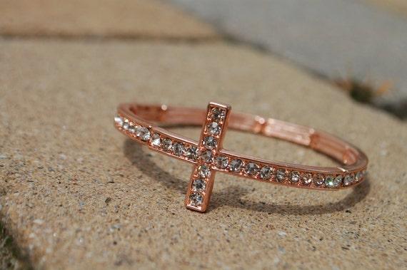 Side Cross Bracelet Rose Gold Bangle