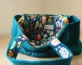 teal crochet bag with navy printed cotton