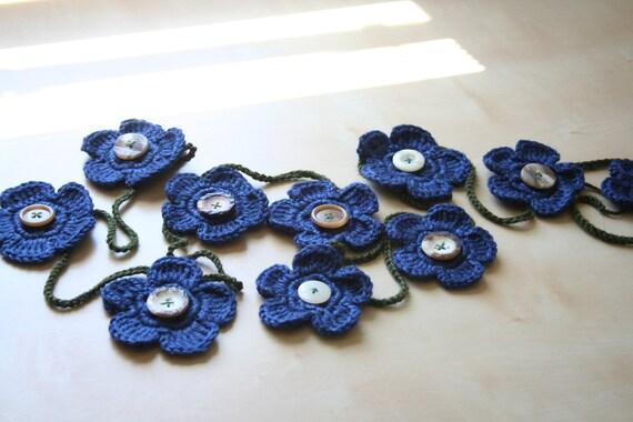 dark country blue crocheted flower garland - hellebore - reusable