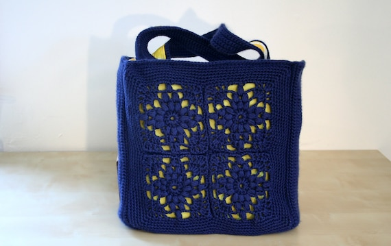 medium navy and yellow lined crocheted bag - blueberry lemonade