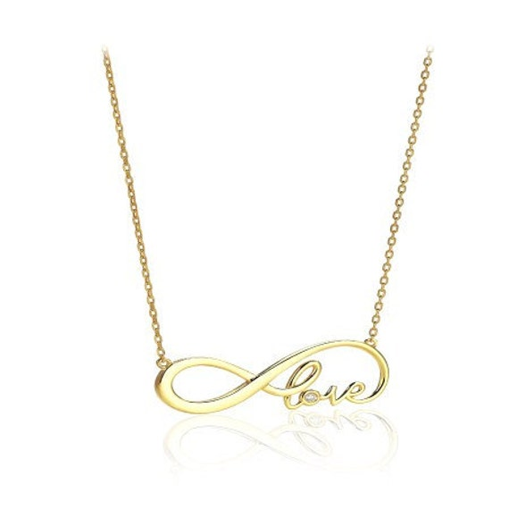 Infinity Endless Love gold plated necklace with a diamond  love knot