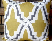 Yellow and Grey Pillow Throw Pillow Designer Pillow Accent pillow Cover 18 X 18 - Bokara Yellow