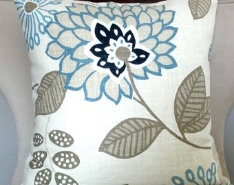 Decorative pillow accent pillow designer Richloom  pillow cover 18x18 inches blue, gray and cream