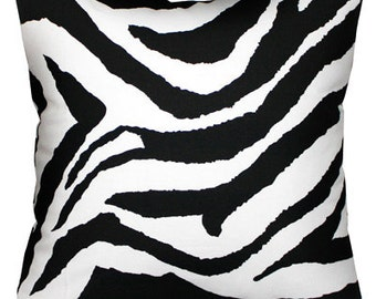 Closing Sale  Pillow pillow accent pillows Zebra print Black and white 18x18 inches cushion cover CLEARANCE  SALE