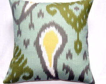 CLOSING SALE Pillow Designer pillow throw pillow toss pillow accent pillow home decor Dwell Studio Batavia Ikat-Aquamarine18x18 inch - Ikat