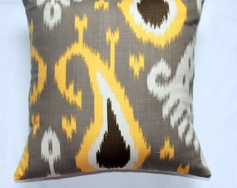 Decorative pillow Designer pillow throw pillow toss pillow Dwell Studio Ikat Pillow Yellow  Taupe  Brown  18x18 inch - IKAT