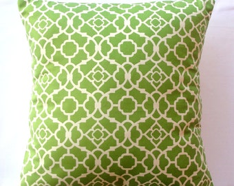 accent pillow decorative pillow throw pillow designer pillow Waverly Lattice Green 18x18 inches